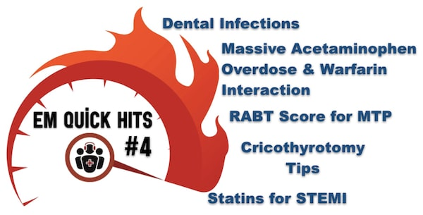 EM Quick Hits 4 Acetaminophen Overdose & Warfarin Interaction, Dental Infections, MTP RABT Score, Statins for STEMI, Cricothyrotomy Tips