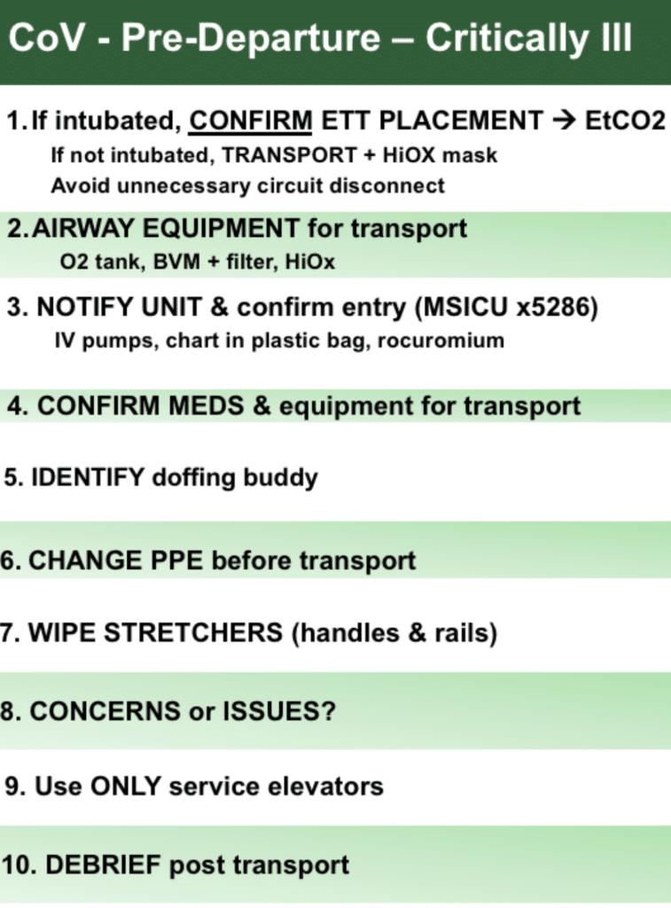 Post intubation departure checklist COVID