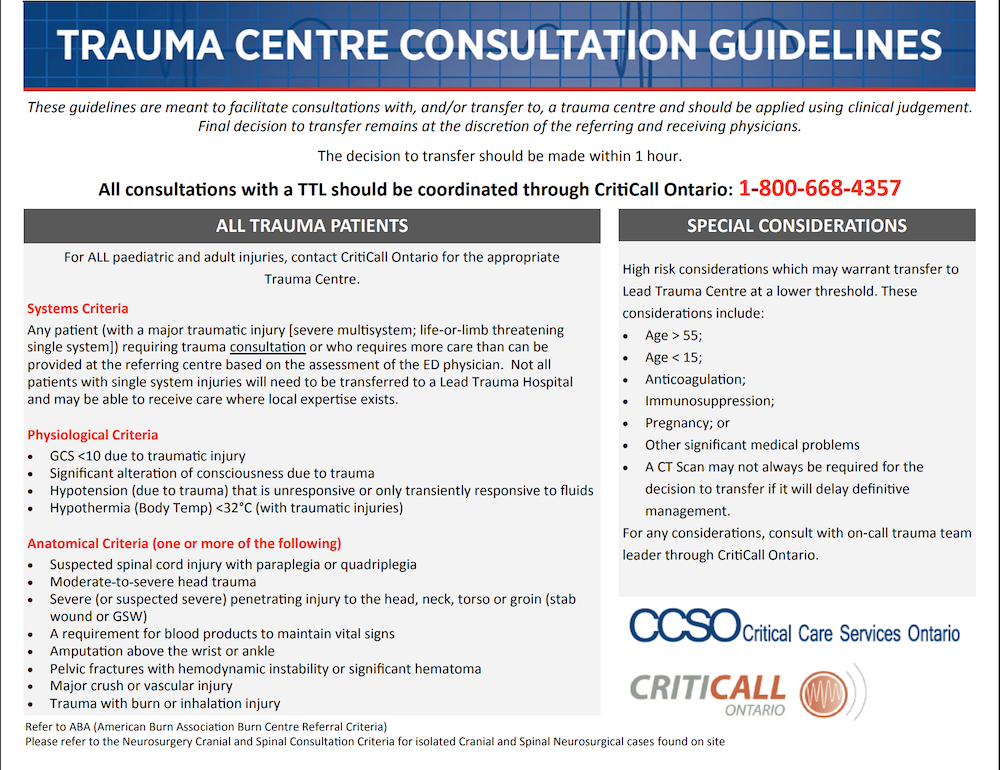 """Example of trauma center activation guidelines for educational purposes only. Note that patients age >55 are considered high risk which """"may warrant transfer to lead trauma center at a lower threshold"""""""